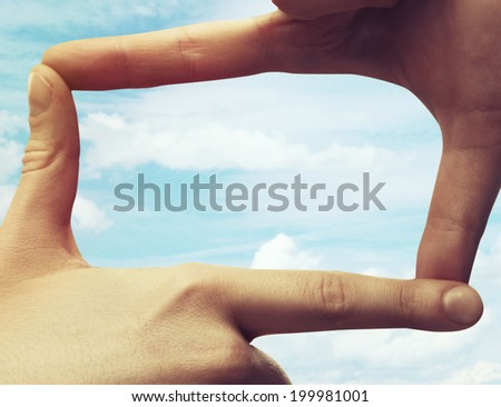 frame of the human hand - stock photo
