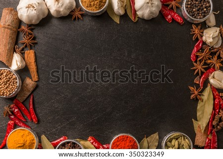 Frame of the spice for the curry - stock photo