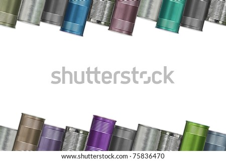 frame of variety cans , isolated on white Background - stock photo
