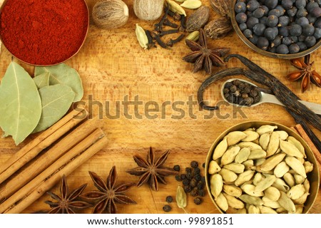 Frame of various spices - stock photo