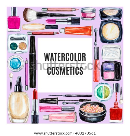 Frame of various watercolor decorative cosmetic. Makeup products, beauty items, mascara, lipstick, foundation cream, brushes, eye shadow, nail polish, powder, lip gloss. Hand drawn makeup cosmetics - stock photo