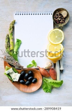 Frame of vegetables, background for text - stock photo