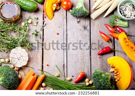 Frame of vegetables, herbs. Harvest, culinary, autumn background. Copy space - stock photo