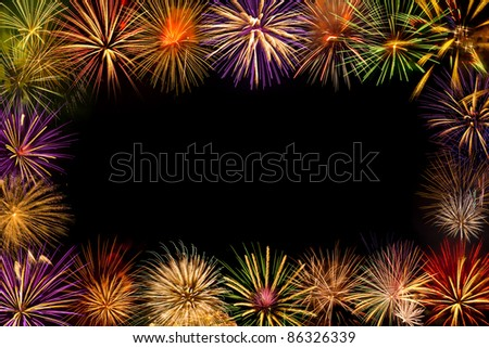 Frame of vibrant fireworks - stock photo