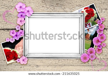 frame of wedding pictures, pictures with the bride and groom - stock photo