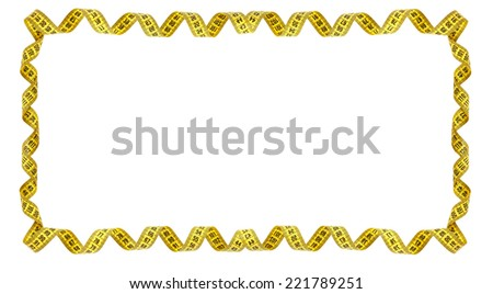 Frame of yellow measuring tape isolated on white background - stock photo
