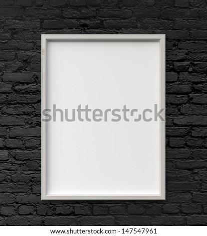 frame on black brick wall - stock photo