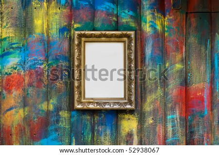 Frame on the painted wall - stock photo