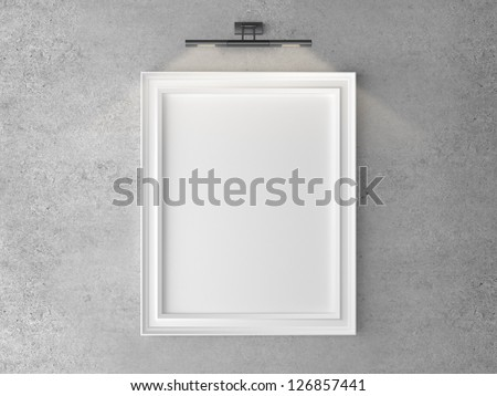 frame on wall with wall lamp - stock photo