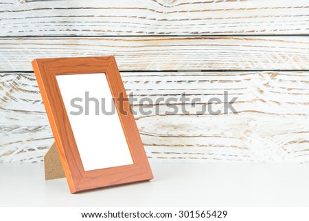 Frame on wood table