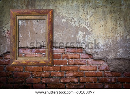 Frame or board on old brick wall