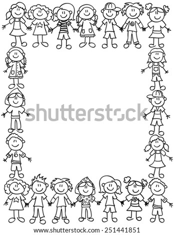 Frame or page border of cute kid cartoon characters holding hands - black outline - stock photo