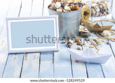 Frame photos seashells concept Sea Adventure blue white rusty vintage wooden background