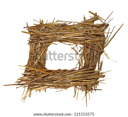 frame pile straw isolated on white, (with clipping path) - stock photo
