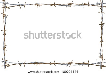 Frame Rusty Barbed Wire Isolated On Stock Photo (Royalty Free ...