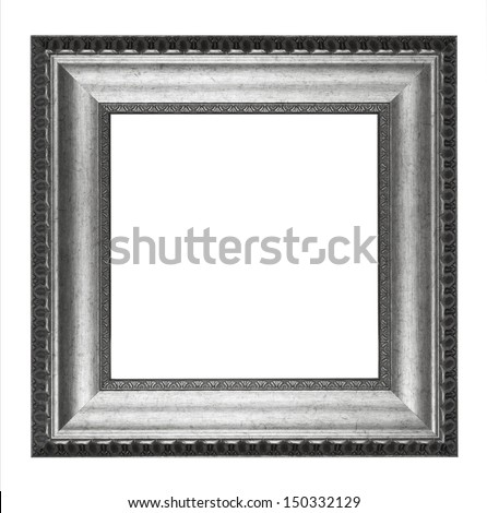 Frame - silver picture frame - stock photo