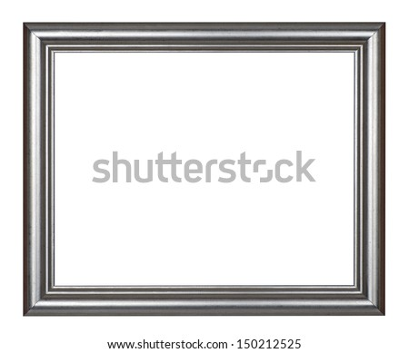 Frame - silver picture frame, isolated on white - stock photo