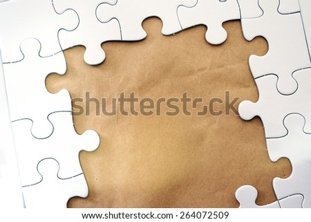 Frame text and jigsaw puzzles. - stock photo