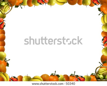 Frame that consists of fruit. Can be used for greeting cards, flyers, promotional leaflets, etc,.... - stock photo