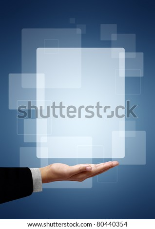 Frame white square above the business hand on a blue background - stock photo