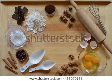 Frame with baking ingredients - stock photo