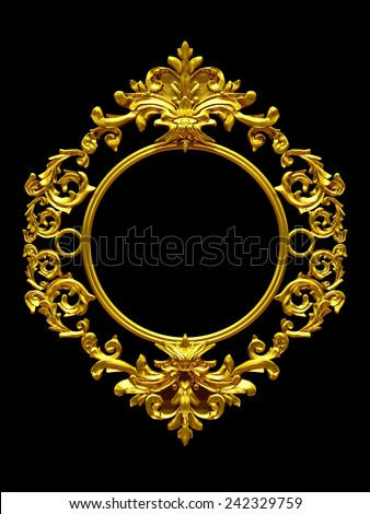frame with baroque ornaments in gold for pictures or mirror - stock photo