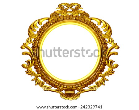 "frame with baroque ornaments in gold, ""round"", frontal version, 3D Illustration"