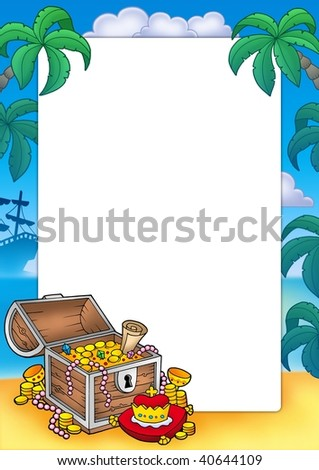 Frame with big treasure chest - color illustration. - stock photo