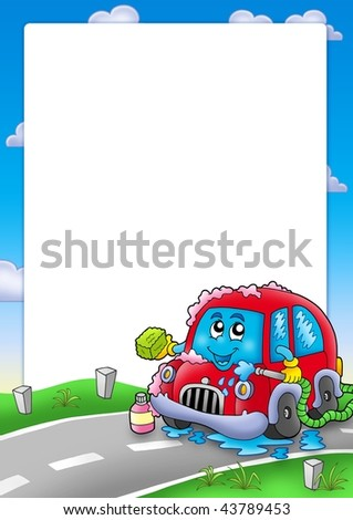 Frame with cartoon car wash - color illustration. - stock photo