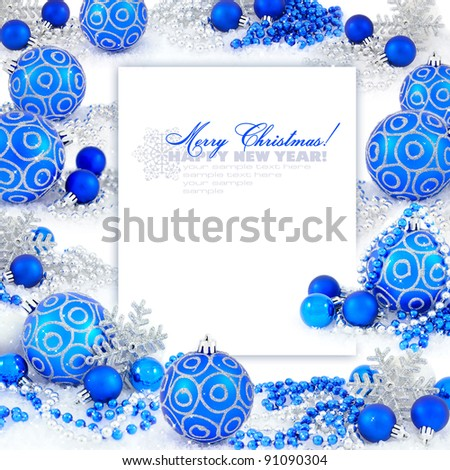 Frame with christmas compositions is with blue balls and space for text - stock photo