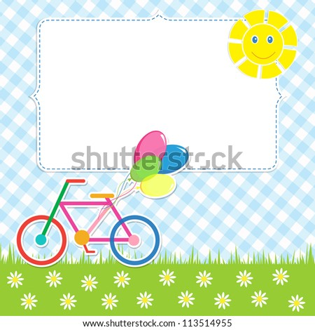 Frame with cute bike. Raster version - stock photo