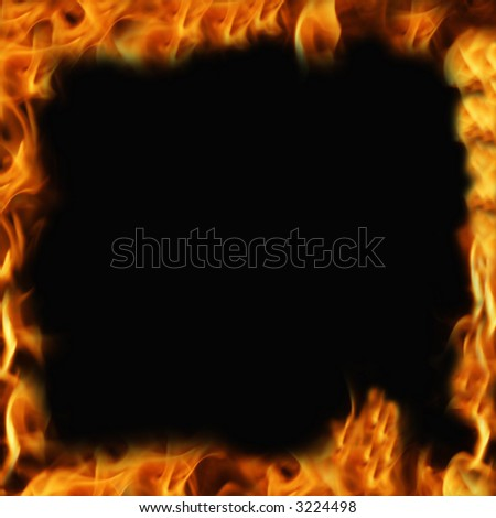frame with fire all around, with black inside - stock photo