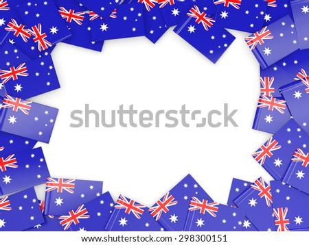 Frame with flag of australia isolated on white - stock photo