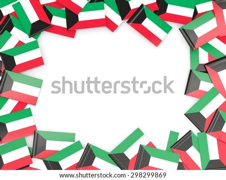 Frame with flag of kuwait isolated on white - stock photo