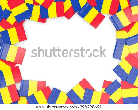 Frame with flag of romania isolated on white - stock photo