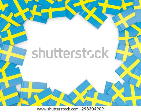 Frame with flag of sweden isolated on white - stock photo