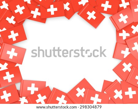 Frame with flag of switzerland isolated on white - stock photo