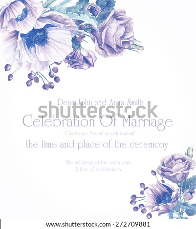 Frame with flowers. Invitation card. Purple poppies and roses. Monochrome color. Background for your text. Suitable for background for wedding, birthday and so on. - stock photo