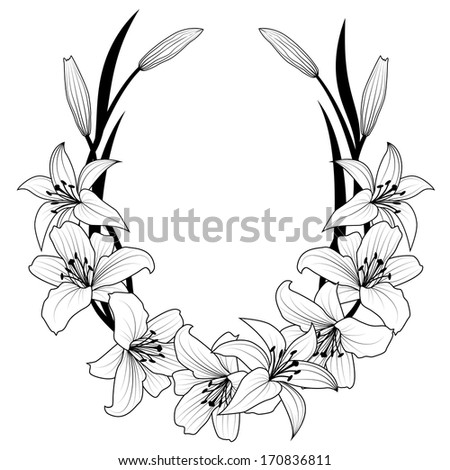 frame with flowers of lily in black and white colors - stock photo