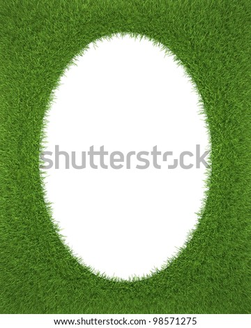 Frame with green grass with isolated oval. 3d render - stock photo