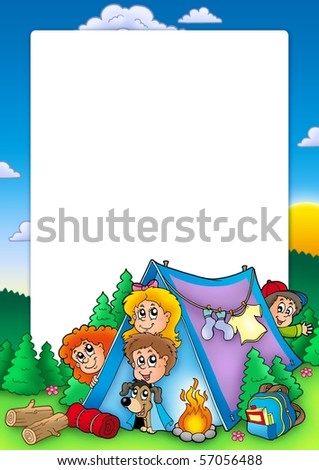 Frame with group of camping kids - color illustration.