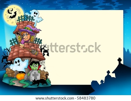 Frame with haunted house - color illustration. - stock photo