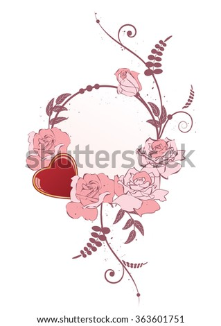 frame with heart and flowers of roses - stock photo