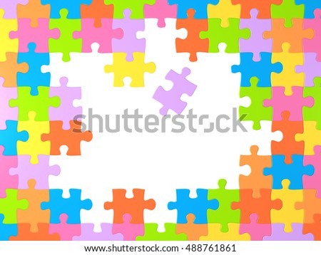 Frame with many miltu-colored puzzles. Isolated on white background. 3d render