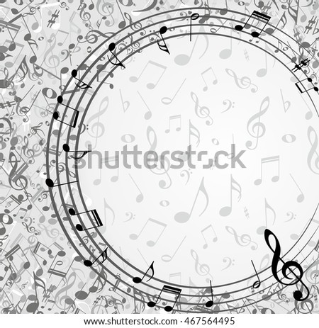 Frame with music notes.