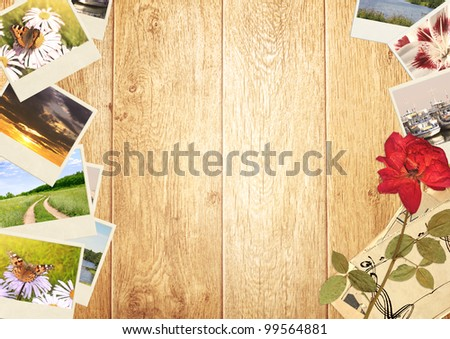 Frame with old photos and dried flower - stock photo