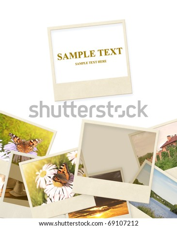 Frame with old photos. Objects isolated over white - stock photo