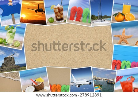 Frame with photos from summer vacation, sand, drinks, beach, holiday and copyspace - stock photo