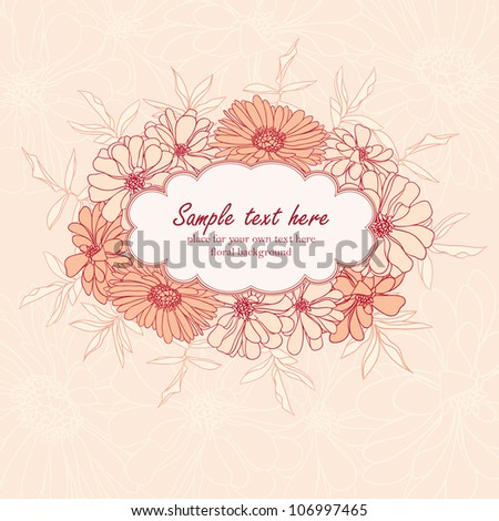 Frame with pink hand drawn flowers and leafs - stock photo
