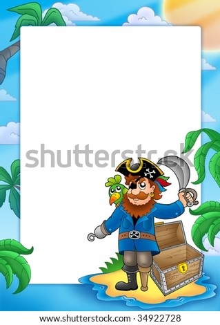 Frame with pirate on beach - color illustration. - stock photo